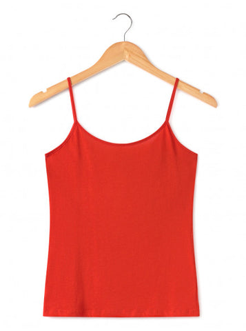 Nice Things Organic Cotton Strappy Top Red WJK020_250 rode spaghettitop