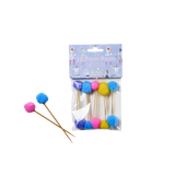 Rice 10 Pompom Party Picks in Assorted Colors PASTI-POMXC