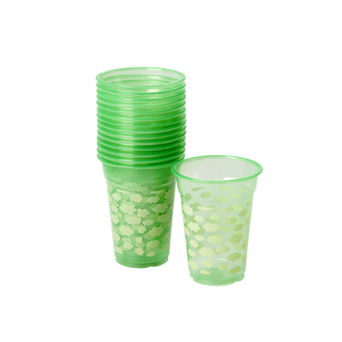 Rice 18 Disposable Plastic Cups With Cloud Print In Green PLCUP-18SKYXC