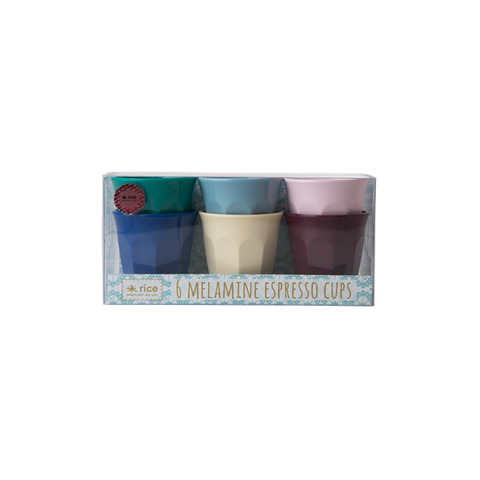 Rice 6 Melamine Expresso Cups in Assorted Urban Colors MELCU-6EURBXC
