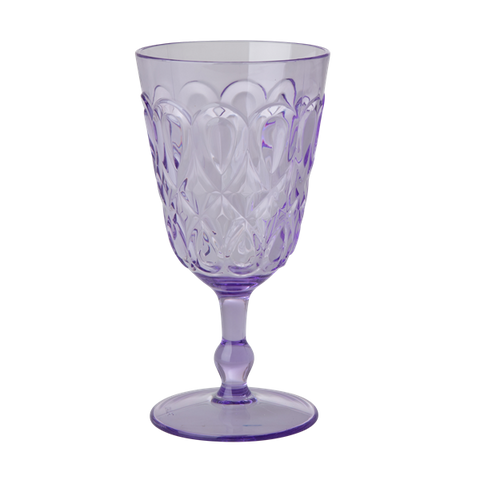 Rice Acrylic Wine Glass With Swirly Embossed Detail Lavender HSGLW-SWLA