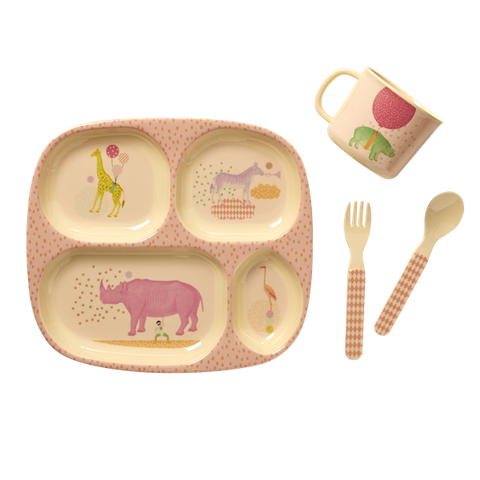 Rice Baby 4 Pcs Melamine Dinner Set In Gift Box With Animal Print BABOX-4ZMEGANI