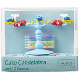 Rice Blue Candelabra Cake Decoration With 10 Candles CDCAN-B