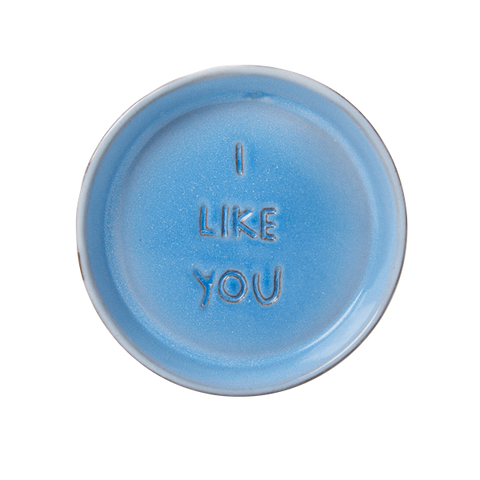 Rice Blue Ceramic Ring Dish With Embossed Words I Like You JEDIS-WORB
