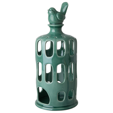 Rice Ceramic Lantern In Green Large CELAN-LG