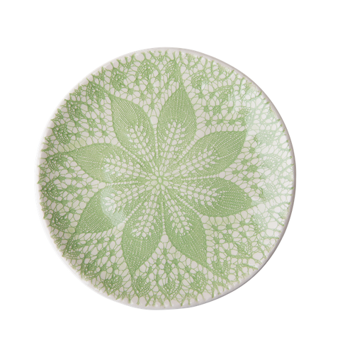 Rice Ceramic Lunch Plate With Lace Embossing Pastel Green CELPL-LACEPG