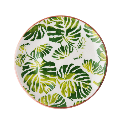 Rice Ceramic Lunch Plate With Tropic Leaf Print CELPL-TRLEAF