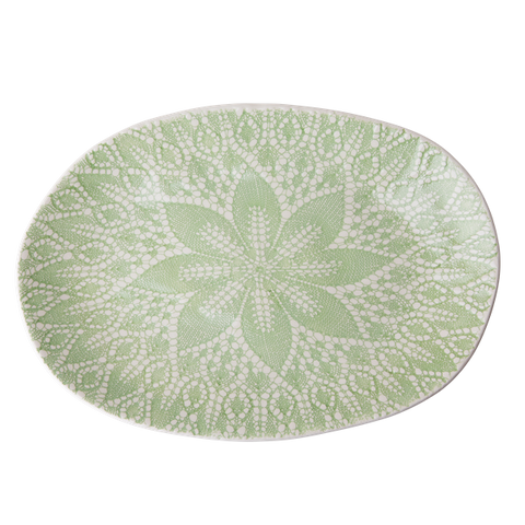 Rice Ceramic Oval Serving Dish With Lace Embossing Pastel Green CESER-LACEPG