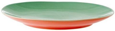 Rice Ceramic Two Tone Lunch Plate in Aqua and Coral CELPL-AQCO