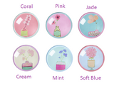 Rice Glass Bead Magnet With Handpainted Flower Print In 6 Assorted Colors
