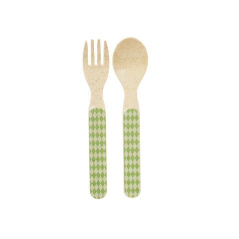 Rice Kids Bamboo Melamine Spoon And Fork With Print Green BABSF-BANI