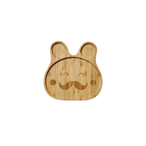 Rice Kids Lunch Plate In Bamboo With Moustache KILPL-BAMMOU