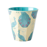 Rice Medium Melamine Cup Two Tone Peacock Print MELCU-PEAC