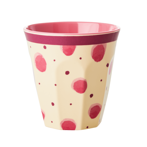 Rice Melamine Cup Pink WIth Watercolor Splash Medium MELCU-WASPI