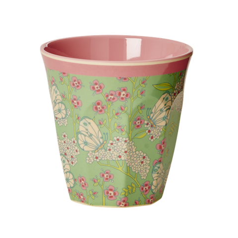 Rice Melamine Cup With Butterfly And Flower Print Two Tone Medium MELCU-BUFL