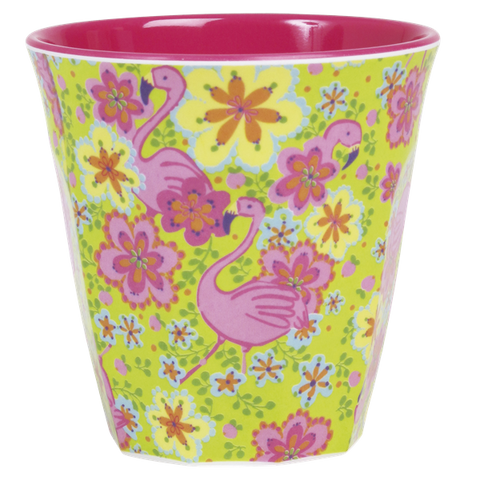 Rice Melamine Cup With Flamingo Print Two Tone Medium MELCU-FLAM