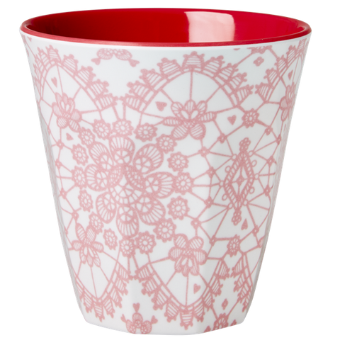 Rice Melamine Cup With Lace Print Coral Two Tone Medium MELCU-LACE
