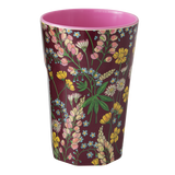 Rice Melamine Cup With Lupin Print Bordeaux Two Tone Tall MELCU-LLUBO