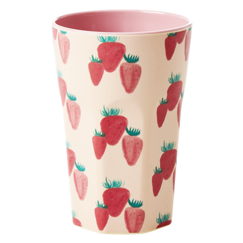 Rice Melamine Cup With Strawberry Print Tall MELCU-LSTRAWB