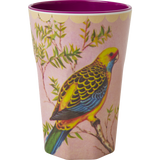 Rice Melamine Cup With Vintage Budgie Print Two Tone Tall MELCU-LBIL