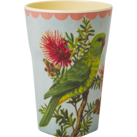 Rice Melamine Cup With Vintage Parakeet Print Two Tone Tall MELCU-LBIC