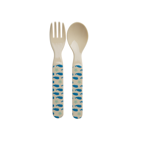 Rice Melamine Kids Spoon And Fork With Whales And Starfish Print BABSF-BSEA