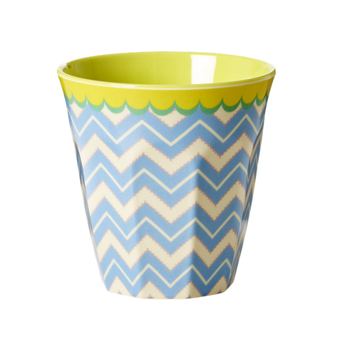 Rice Melamine Medium Cup Two Tone With Chevron Print MELCU-CHEV