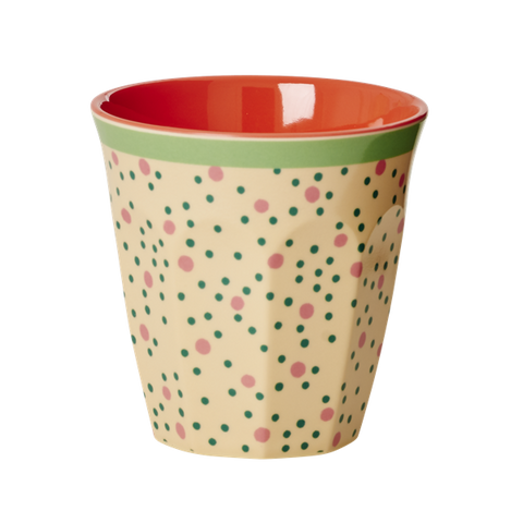 Rice Melamine Medium Cup Two Tone With Connecting The Dots Print MELCU-CDOT