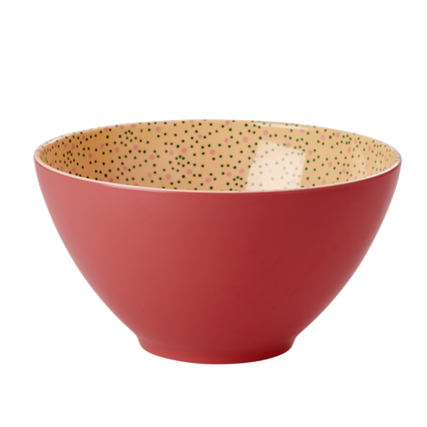 Rice Melamine Two Tone Salad Bowl In Dark Coral With Connection The Dots Print MESAB-CDOT