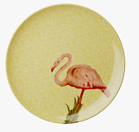 Rice Melamine side plate with yellow flower and flamingo print MESPL-YFLAM