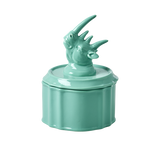 Rice Pastel Green Porcelain Jewelry Box With Rhino Head On Lid JEBOX-RHIPG