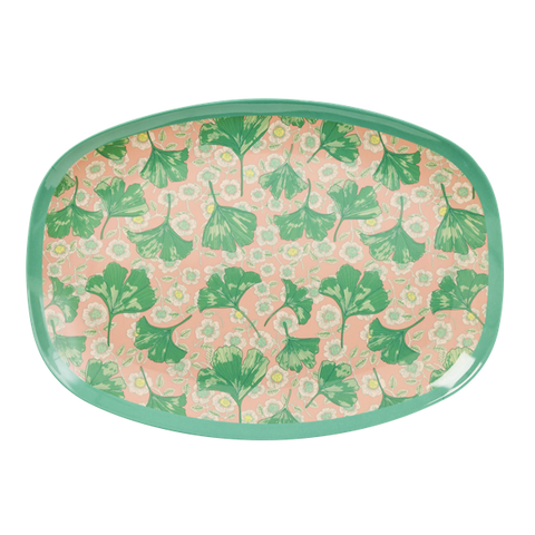 Rice Rectangular Melamine Plate With Leaves And Flower Print MELPL-LEFL