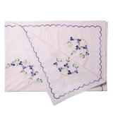 Rice Rectangular Soft Pink Tablecloth With Hand Embroidered Flowers TABCL-RECI