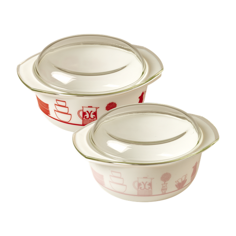 Rice Small Opalware Glass Oven Dish And Lid With Charlottes Cupboard Print Red Or Soft Pink GLOVE-SCUPBXC