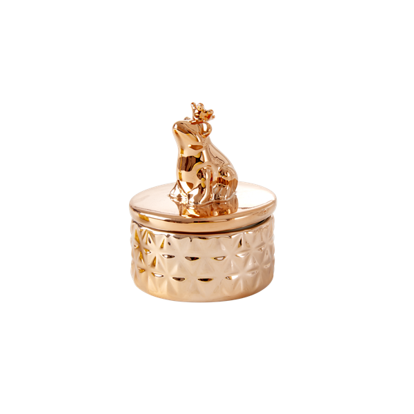 Rice Tiny Copper Porcelain Jewelry Box With Frog On Lid JEBOX-SANFRCOP