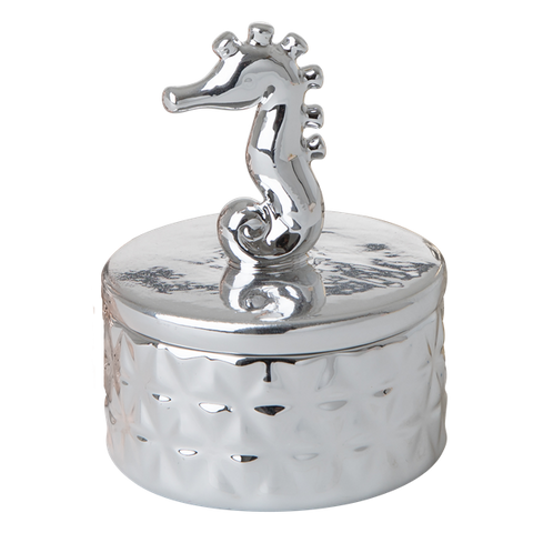 Rice Tiny Silver Porcelain Jewelry Box With Seahorse On Lid JEBOX-SANIXC18-seahorse