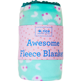 Rice Aqua Winter Blossom Fleece Blanket with Crochet Lace Trim