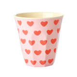 Rice medium melamine cup with sweet hearts print MELCU-SWHE