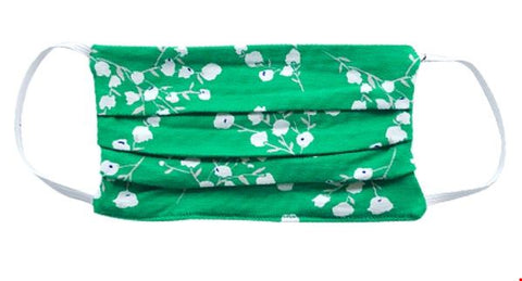 Zilch Face Mask Blossom Apple 01MASK001853 : groen mondkapje met bloemenprint