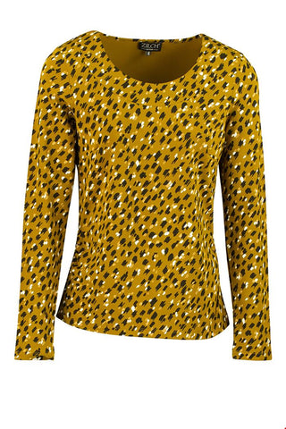 Zilch Top Roundneck Paint Mustard 92VIK10.047P-772