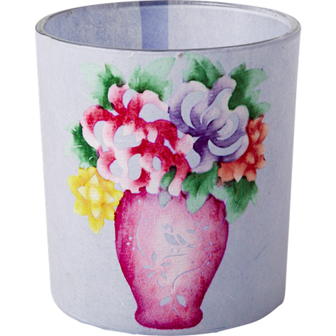 Rice Glass Tea Candle Holder With Andrea Flower Paper Cover Pink