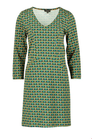 Zilch dress V-neck art deco forest