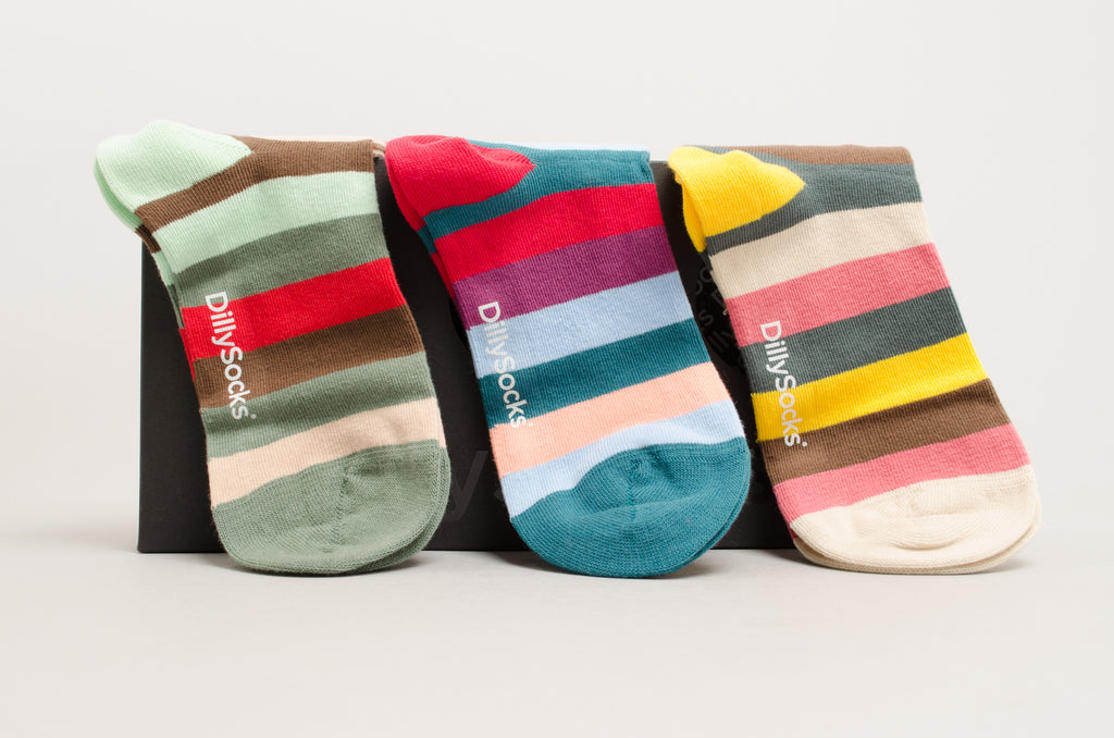 DillySocks Stripe Box Green-Red-Brown / Purple-Red_Blue-Petrol / Beige-Pink-Yellow_Green
