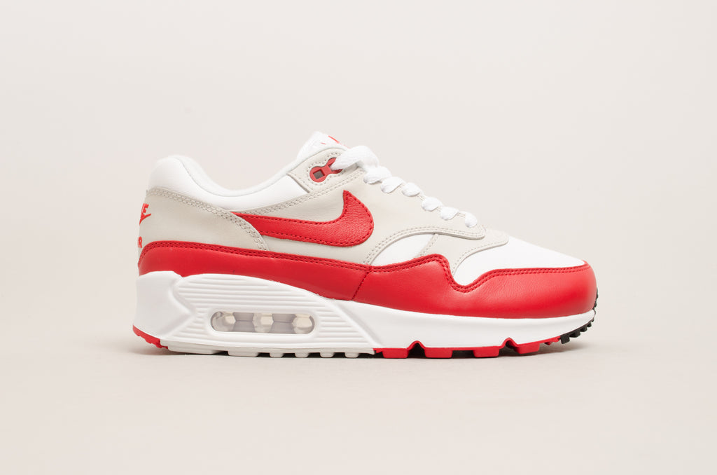Nike Women's Air Max 90/1 ( White / Red / Grey ) AQ1273-100