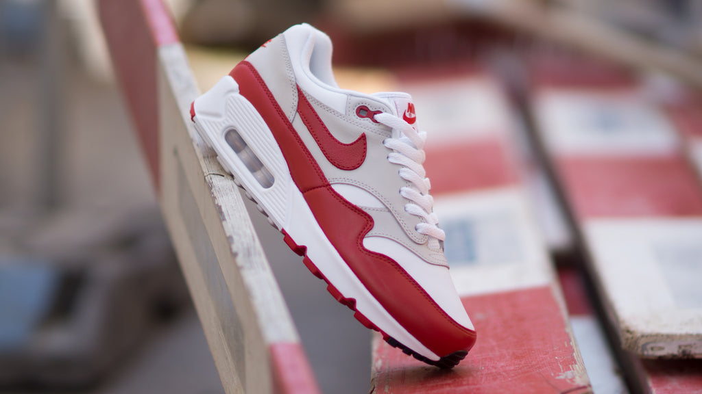 reputable site 7975c 48a1f ... Nike Women s Air Max 90 1 ( White   Red   Grey ) AQ1273-