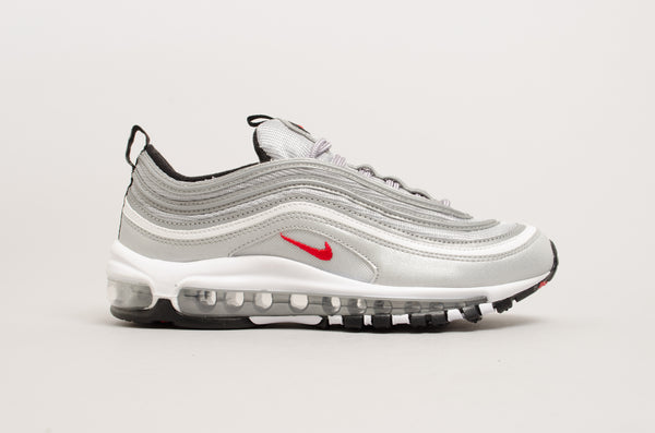"Nike Women's Air Max 97 OG Quickstrike ""Silver Bullet"" Metallic Silver/Varsity Red-Black-White 885691-001"