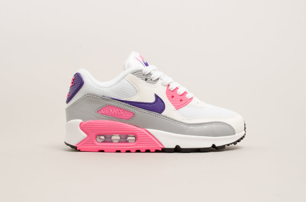 Nike Women s Air Max 90 ( White   Court Purple   Laser Pink ) 325213- ... a571b4c535