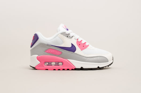 Nike Women's Air Max 90 ( White / Court Purple / Laser Pink ) 325213-136