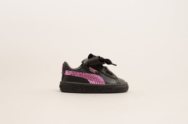 Puma Basket Heart Bling Infant ( Black / Orchid ) 366849-01