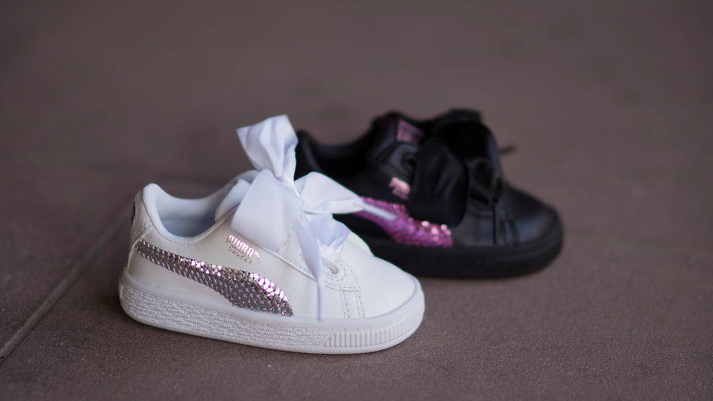 Puma Basket Heart Bling Infant ( White / Silver ) 366849-02